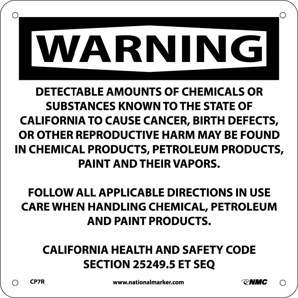 Warning Detectable Amounts Of Chemicals California  Proposition 75