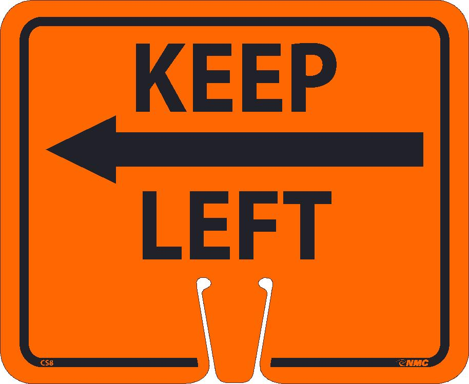 Safety Cone Keep Left Sign