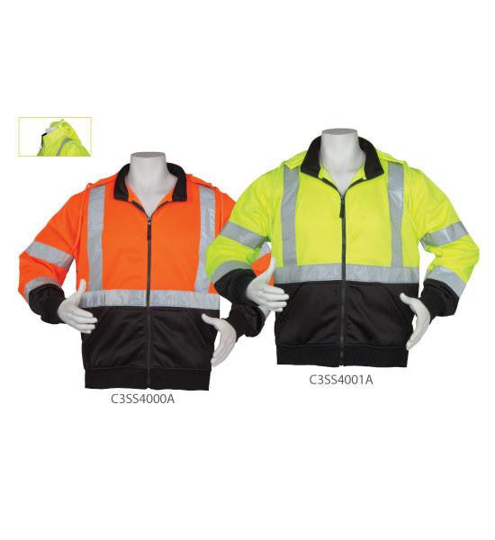 3A Safety C3SS4001A 5XL ANSI Class III Hooded ZipperFront Lime