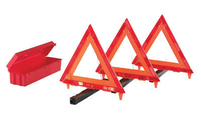 Cortina Safety Products Fluorescent Orange Acrylic 3-Piece Triangle Warning Kit With  Triangles in Living Hinge Box