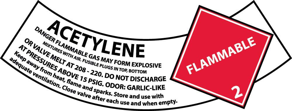 Acetylene Gas Cylinder Shoulder Label - Pack of 25