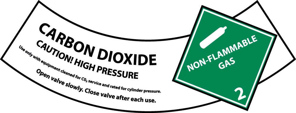 Carbon Dioxide Cylinder Shoulder Label - Pack of 25