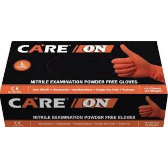 Care On - Nitrile Exam Powder-Free Gloves, ORANGE - Case