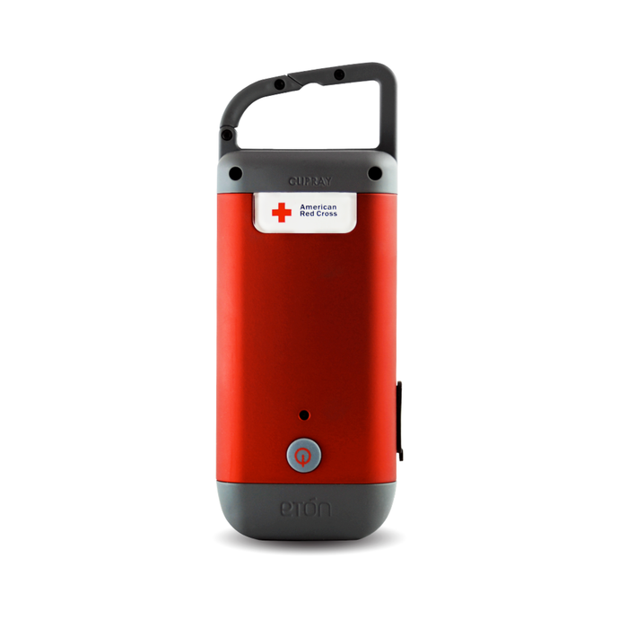 Eton- AMERICAN RED CROSS- Crank-Powered, Clip-on Flashlight with Phone Charger