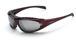 DIamondback Silver Mirror Lens Shiny Red Frame Foam Lined