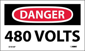 Danger 480 Volts Label - 5 Pack