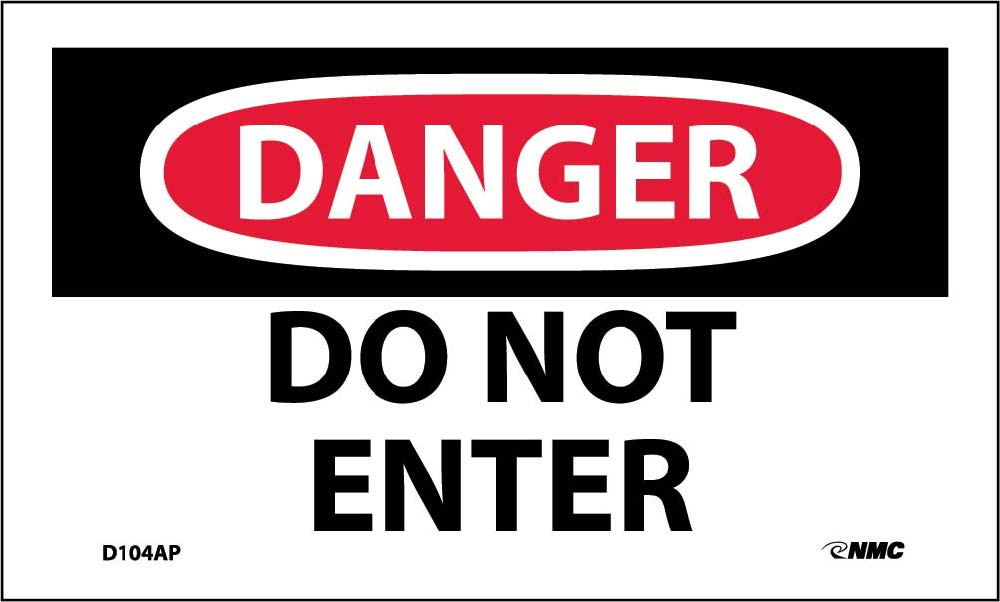 Danger Do Not Enter Label - 5 Pack