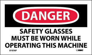 Danger Safety Glasses Must Be Worn Label - 5 Pack