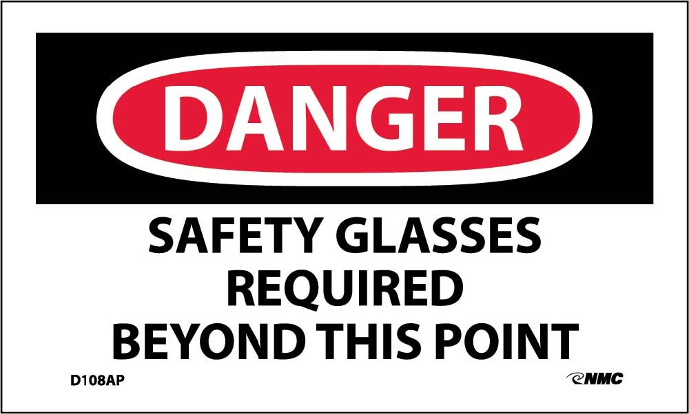 Danger Safety Glasses Required Beyond This Point Label - 5 Pack