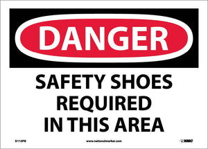 Danger Safety Shoes Required In This Area Sign