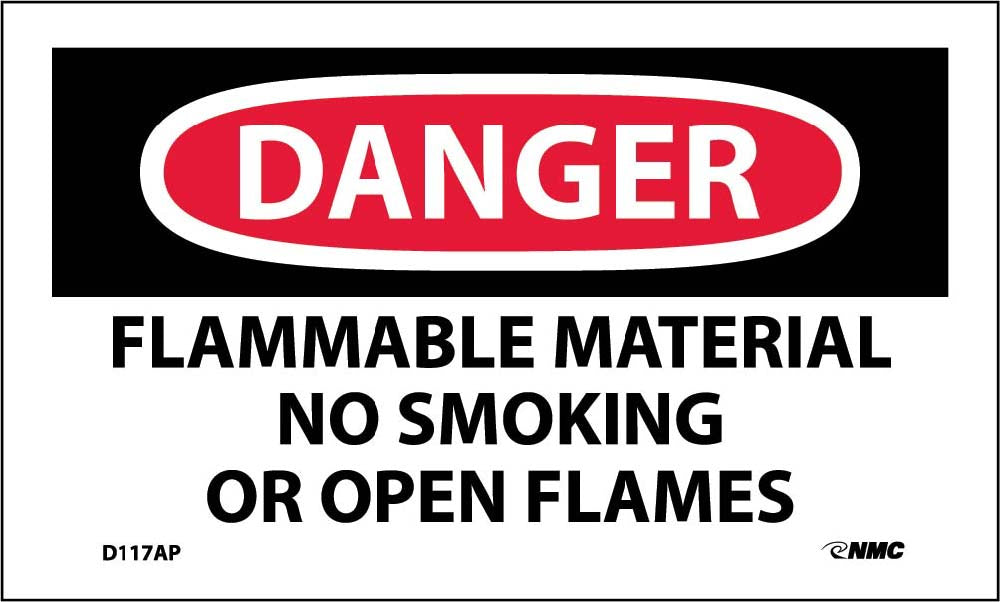 Danger Flammable Material No Smoking Or Open Flames Label - 5 Pack