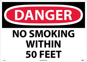 Large Format Danger No Smoking Within 50 Feet Sign