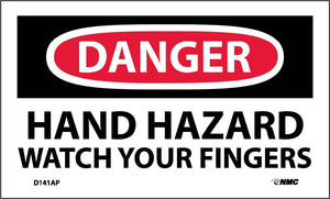 Danger Hand Hazard Watch Your Fingers Label - 5 Pack