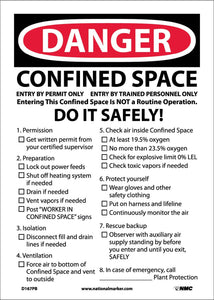 Danger Confined Space Permit Required Sign
