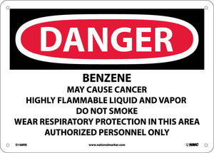 Benzene Cancer Hazard Flammable No Smoki Sign