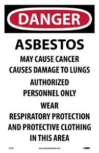Danger Asbestos Hazard Paper Hazard Sign - Pack of 100