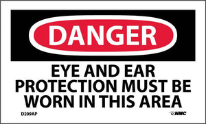 Danger Eye And Ear Protection Must Be Worn Label - 5 Pack