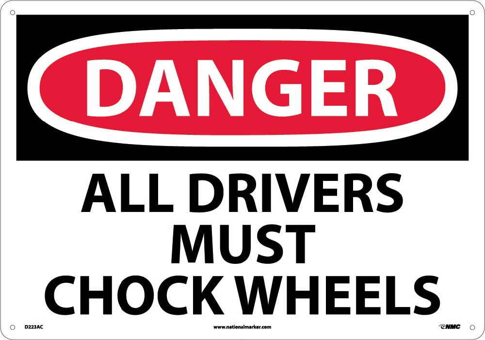 Large Format Danger All Drivers Must Chock Wheels Sign