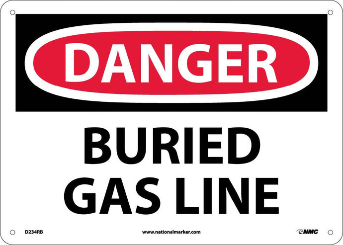 Danger Buried Gas Line Sign