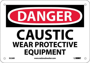 Danger Caustic Wear Protective Equipment Sign