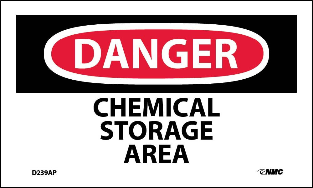 Danger Chemical Storage Area Label - 5 Pack