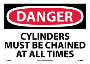 Danger Cylinders Must Be Chained At All Times Sign