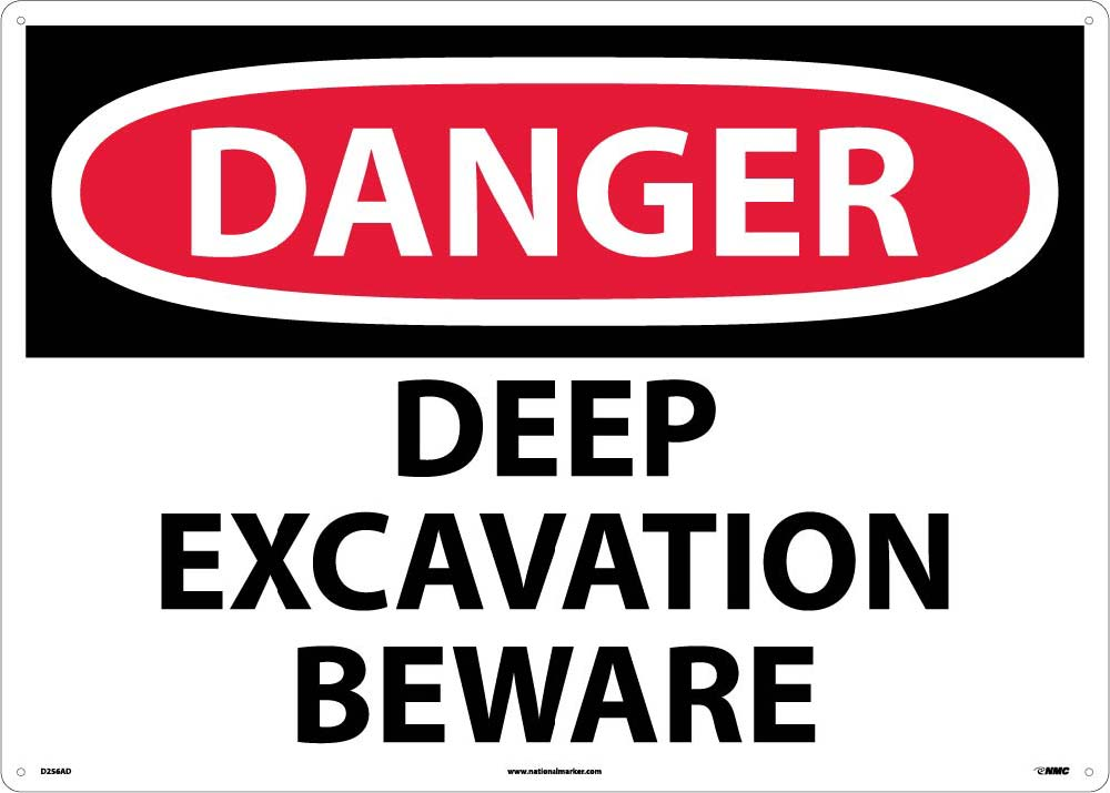 Large Format Danger Deep Excavation Beware Sign