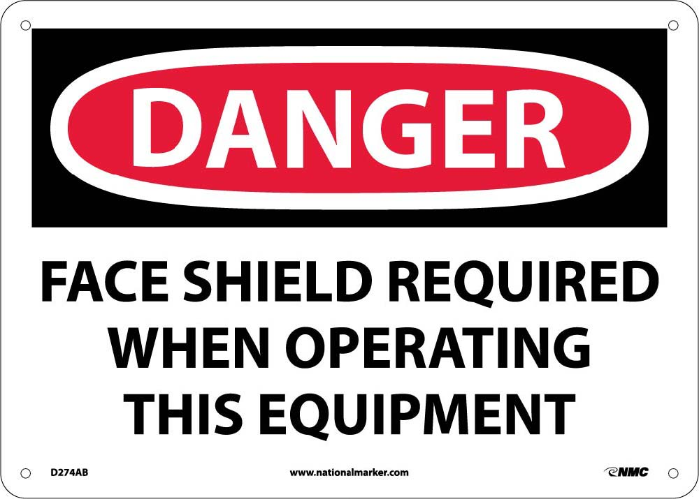 Danger Face Shield Required Sign