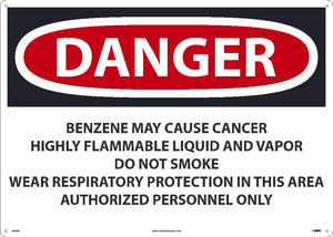 Danger Benzene May Cause Cancer Sign
