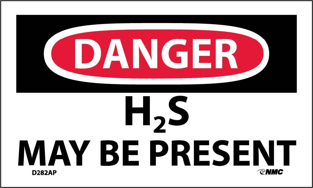 Danger H2S May Be Present Label - 5 Pack