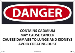 Danger Contains Cadmium May Cause Cancer Sign