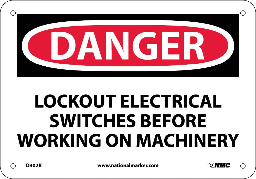 Danger Lockout Electrical Before Working Sign