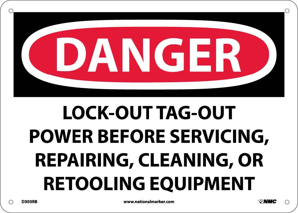 Danger Lock-Out Tag-Out Power Before Use Sign