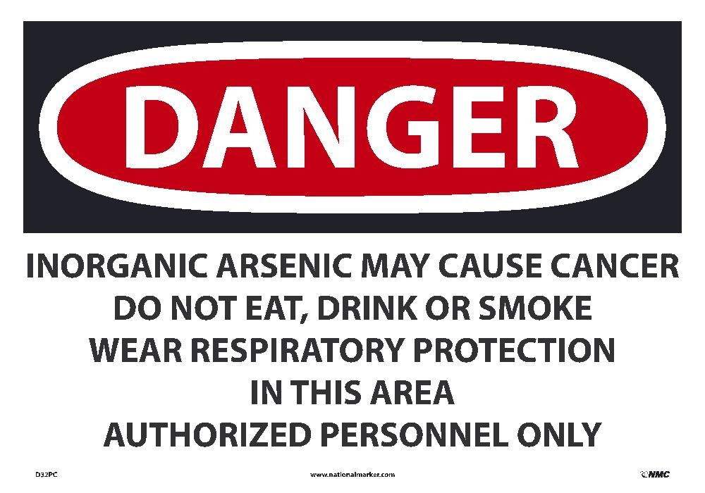 Danger Inorganic Arsenic May Cause Cancer Sign