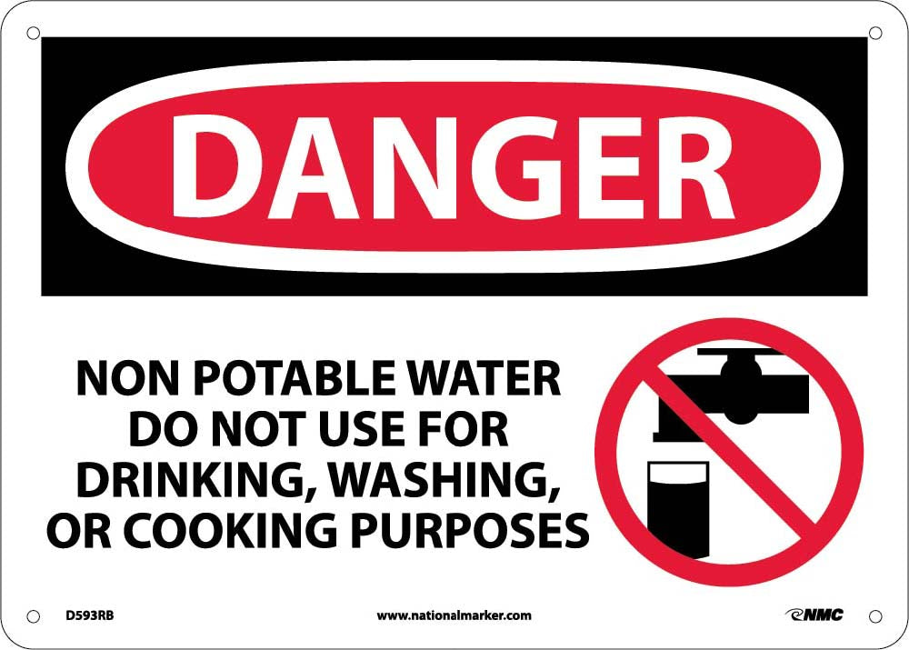 Danger Non Potable Water Do Not Use Sign Esafety
