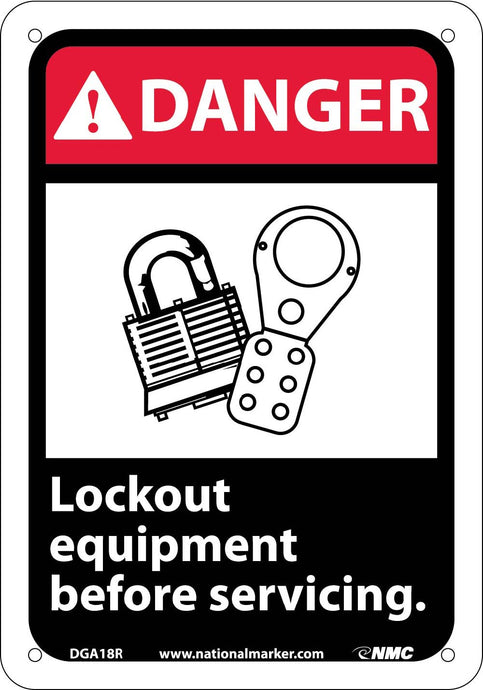 Danger Lock Out Equipment Before Servicing Sign