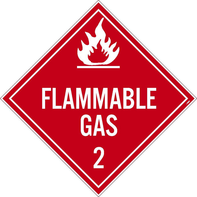 Flammable Gas 2 Dot Placard Sign