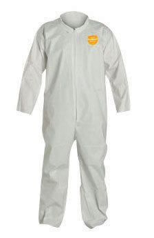 DuPont Large White Safespec 2.0 10 mil ProShield NexGen Disposable Coveralls With Front Zipper Closure, Laydown Collar, Open Wrists, Open Ankles And Set Sleeves
