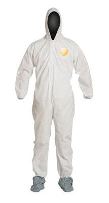 DuPont 3X White SafeSPEC 2.0 12 mil ProShield Basic Chemical Protection Coveralls With Standard Fit Hood, Skid-Resistant Boots And Elastic Wrists