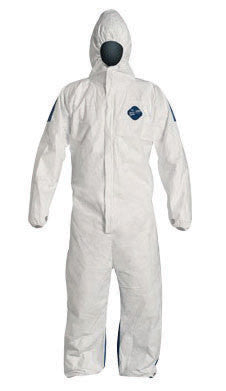 DuPont 2X White Safespec 2.0 5.7 mil Tyvek Dual Disposable Coveralls With Storm Flap Over Front Zipper Closure, Thumb Loops And Elastic Waist