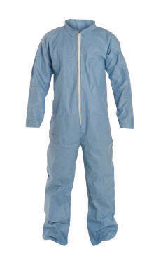 DuPont 2X Blue Safespec 2.0 Tempro Disposable Water And Flame Resistant Coveralls With Front Zipper Closure, Laydown Collar, Open Wrists, Open Ankles And Set Sleeves