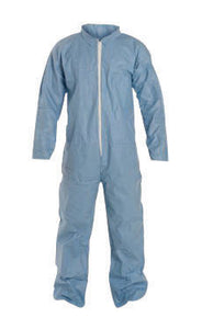 DuPont Large Blue Safespec 2.0 Tempro Disposable Water And Flame Resistant Coveralls With Front Zipper Closure, Laydown Collar, Open Wrists, Open Ankles And Set Sleeves