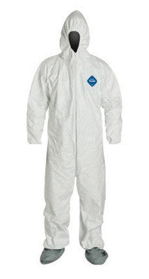 DuPont 5X White Safespec 2.0 5.4 mil Tyvek Disposable Coveralls With Front Zipper Closure, Elastic Waist And Set Sleeves