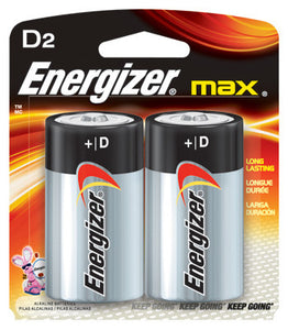 Energizer Eveready MAX 1.5 Volt D Alkaline Battery With Flat Contact Terminal