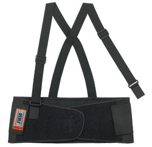 "Ergodyne Medium 7 1/2"" Black ProFlex 1650 Elastic Economy Back Support With 5"" Single Strap Closure, Rubber Track, Polypropylene Stays And Detachable Suspenders"