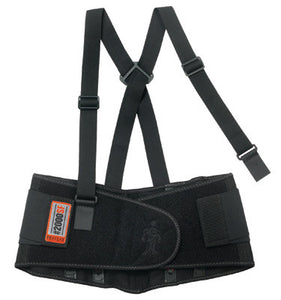 Ergodyne Large Black ProFlex 2000SF 840D Spandex High Performance V-Shaped Design Back Support With Two-Stage Closure, Sticky Fingers Stays And Detachable Suspenders
