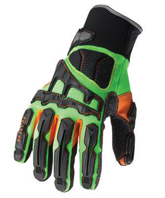 Ergodyne 2X Hi-Viz Lime ProFlex 925F Full Finger Armortex And PVC Dorsal Impact Reducing Anti-Vibration Gloves With Contoured Neoprene Cuff, Reinforced Kevlar Palm Stitching, PVC On Palm And Fingers, TPR
