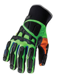 Ergodyne Large Hi-Viz Lime ProFlex 925FWP 3M Thinsulate And Hipora Lined PVC Dorsal Impact Reducing Cold Weather Gloves With Contoured Neoprene Cuff, Reinforced Kevlar Palm Stitching, PVC on Palm And Fingers,