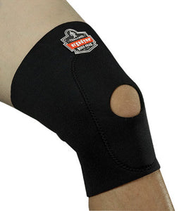 Ergodyne Small Black ProFlex 615 Neoprene Ambidextrous Single Layer Knee Sleeve With Anterior Pad And Open Patella