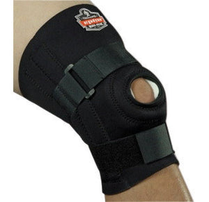 "Ergodyne Large Black ProFlex 620 Neoprene Ambidextrous Knee Sleeve With 2"" Hook And Loop Closure, Anterior Pad, Open Patella,  Lateral And  Medial Spiral Stays"
